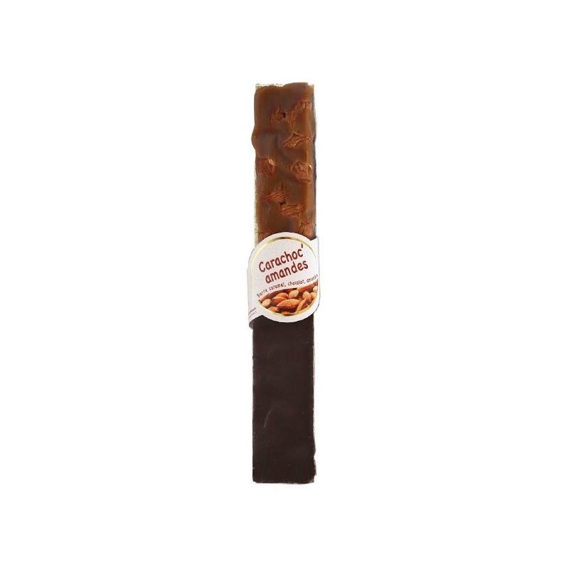Carachoc amandes 100g - barre caramel tendre, chocolat noir et amandes